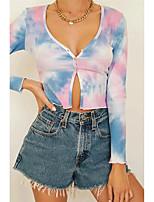 cheap -Women's Blouse Tie Dye Long Sleeve V Neck Tops Skinny Cotton Basic Basic Top Rainbow
