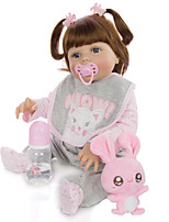 cheap -KEIUMI 22 inch Reborn Doll Baby & Toddler Toy Reborn Toddler Doll Baby Girl Gift Cute Washable Lovely Parent-Child Interaction Full Body Silicone 23D29-C95-H21-T21 with Clothes and Accessories for