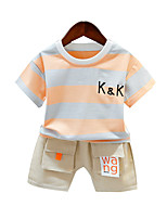 cheap -Toddler Boys' Active Basic Daily Wear Vacation Striped Color Block Short Sleeve Regular Clothing Set Yellow
