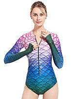 cheap -LIFURIOUS Women's One Piece Swimsuit Swimwear Bodysuit Long Sleeve Front Zip - Swimming Diving Surfing Summer / High Elasticity
