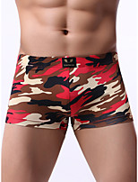 cheap -Men's Print Boxers Underwear - Normal Low Waist Black Red Royal Blue S M L