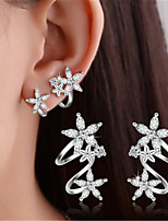 cheap -Women's AAA Cubic Zirconia Earrings Layered Mini Petal Stylish Luxury Sweet Platinum Plated Gold Plated Earrings Jewelry Rose Gold / Silver For Wedding Party Gift Daily Festival 1 Pair