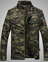 cheap -Men's Hiking Jacket Outdoor Camo Windproof Breathable Jacket Cotton Hunting Camping / Hiking / Caving Traveling Army Green / Khaki