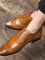 cheap -Men's Summer / Fall Classic / Preppy Daily Outdoor Oxfords Walking Shoes Leather Breathable Non-slipping Wear Proof Light Brown / Dark Brown / Black