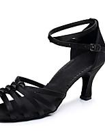 cheap -Women's Dance Shoes Latin Shoes Salsa Shoes Heel Buckle Flared Heel Customizable Black / Brown / Beige