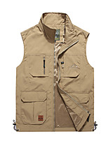 cheap -Men's Hiking Vest / Gilet Summer Outdoor Windproof Breathable Quick Dry Multi-Pocket Top Camping / Hiking Hunting Fishing Black / Army Green / Khaki / Dark Blue / Camping / Hiking / Caving