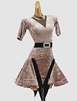 cheap -Latin Dance Dress Sash / Ribbon Split Joint Girls' Training Daily Wear Short Sleeve Cotton