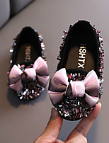 cheap -Girls' Flats Comfort PVC Glitter Crystal Sequined Jeweled Toddler(9m-4ys) / Little Kids(4-7ys) Walking Shoes Sequin Black / Pink / Silver Summer / Fall / Party & Evening