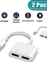 cheap -2Pack iPhone Lightning Adapter 4 in 1 Headphone Splitter Adapter Audio Charger Cal Sync Cable Connector for iPhone Support iOS