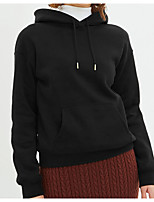 cheap -Women's Fleece Hoodie Sweatshirt Long Sleeve Pure Color Pocket Drawstring Sport Athleisure Top Breathable Soft Comfortable Exercise & Fitness Running Everyday Use Daily Casual / Cotton