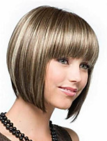 cheap -Synthetic Wig Natural Straight With Bangs Wig Medium Length Brown / White Synthetic Hair 14 inch Women's Party Fashion Comfortable Brown