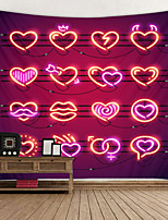 cheap -Red Hearts Lights Background Digital Printed Tapestry Decor Wall Art Tablecloths Bedspread Picnic Blanket Beach Throw Tapestries Colorful Bedroom Hall Dorm Living Room Hanging