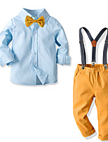 cheap -Toddler Boys' Basic Street chic Street Birthday Party Solid Colored Long Sleeve Regular Regular Clothing Set Blue