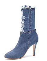 cheap -Women's Boots Summer Stiletto Heel Pointed Toe Minimalism Daily Denim Mid-Calf Boots Light Blue