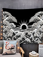 cheap -Home Living Tapestry Wall Hanging Tapestries Wall Blanket Wall Art Wall Decor Black Sun Tapestry Wall Decor