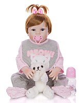 cheap -KEIUMI 22 inch Reborn Doll Baby & Toddler Toy Reborn Toddler Doll Baby Girl Gift Cute Washable Lovely Parent-Child Interaction Full Body Silicone D282-C95-H74-T19 with Clothes and Accessories for