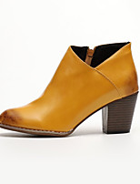 cheap -Women's Boots Cuban Heel Pointed Toe Casual Basic Daily Solid Colored Leather Booties / Ankle Boots Walking Shoes Light Brown / Black / Gray