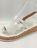 cheap -Women's Sandals Summer Flat Heel Open Toe Classic Minimalism Daily Outdoor Rubber White / Black / Dark Blue