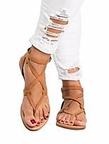 cheap -Women's Sandals Roman Shoes / Gladiator Sandals Summer Flat Heel Open Toe Daily PU Almond / Black / Blue