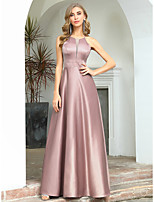 cheap -A-Line Elegant Vintage Wedding Guest Formal Evening Dress Halter Neck Sleeveless Floor Length Satin with Sleek 2020