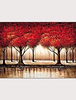 cheap -Large Abstract Forest Wall Art Hand Painted Modern Red Tree Oil Painting on Canvas