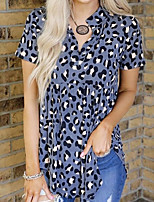 cheap -Women's Blouse Leopard Tops V Neck Loose Daily Summer White Blue S M L XL 2XL 3XL