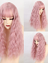 cheap -Synthetic Wig Body Wave Layered Haircut Neat Bang Wig Long Pink+Red Synthetic Hair 20 inch Women's Fashionable Design Cute curling Pink