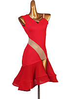 cheap -Latin Dance Dress Cascading Ruffles Women's Training Performance Sleeveless High Spandex