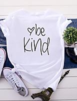cheap -Women's T-shirt Letter Tops - Print Round Neck 100% Cotton Basic Daily Summer Wine White Yellow S M L XL 2XL 3XL 4XL 5XL