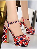 cheap -Women's Sandals Summer Block Heel Peep Toe Daily Geometric Satin Red / Green