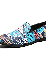 cheap -Men's Spring / Summer Casual / British Daily Party & Evening Loafers & Slip-Ons Walking Shoes Faux Leather Non-slipping Wear Proof Blue Slogan