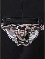 cheap -Men's Print Briefs Underwear - Normal Low Waist Army Green M L XL