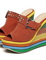 cheap -Women's Sandals Summer Wedge Heel Peep Toe Daily PU Blue / Orange