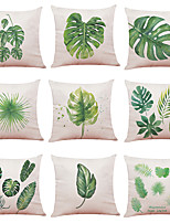 cheap -1 Set of 9 pcs Botany Series  Decorative Linen Throw Pillow Cover 18 x 18 inches 45 x 45 cm