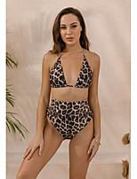 cheap -Women's Triangle Bikini Tankini Swimwear Swimsuit - Leopard Print S M L Brown