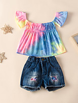 cheap -Kids Toddler Girls' Basic Chinoiserie Daily Wear Festival Rainbow Short Sleeve Regular Regular Clothing Set Rainbow