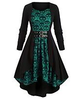 cheap -Hepburn Dress Women's Flounced Asymmetric Hem Costume Wine / Purple / Green Vintage Cosplay Halloween Long Sleeve Tea Length Sheath / Column