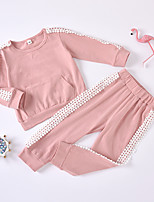 cheap -Kids Toddler Girls' Basic Chinoiserie Daily Wear Festival Solid Colored Lace Long Sleeve Regular Regular Clothing Set Blushing Pink