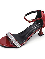 cheap -Women's Sandals Flare Heel Open Toe Sexy Daily Outdoor Suede Black / Red