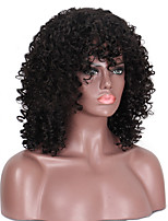 cheap -Synthetic Wig Afro Curly Bouncy Curl Asymmetrical Short Bob Wig Short Natural Black Synthetic Hair 12 inch Women's Adorable Comfy Fluffy Black