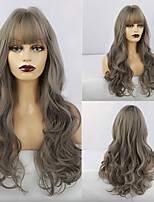cheap -Synthetic Wig Natural Wave Neat Bang Wig Long Grey Synthetic Hair 26 inch Women's Fashionable Design Life Women Gray