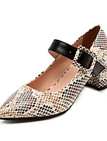 cheap -Women's Heels Spring / Summer Block Heel Closed Toe Daily PU Almond / Yellow / Gray