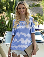 cheap -Women's T-shirt Color Block Round Neck Tops Blue Purple Yellow