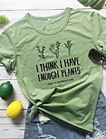 cheap -Women's T-shirt Graphic Prints Letter Print Round Neck Tops 100% Cotton Basic Summer All Seasons Wine White Black