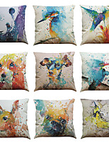 cheap -1 Set of 9 Animal Print Series  Decorative Linen Throw Pillow Cover 18 x 18 inches 45 x 45 cm