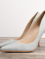 cheap -Women's Heels Summer Stiletto Heel Pointed Toe Daily PU Black / Gold / Silver