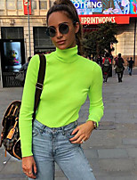 cheap -Women's T shirt Crop Top High Neck Solid Color Cute Sport Athleisure T Shirt Long Sleeve Lightweight Breathable Soft Exercise & Fitness Running Everyday Use Daily Casual