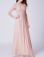 cheap -A-Line Elegant Floral Engagement Formal Evening Dress Scoop Neck Short Sleeve Floor Length Chiffon with Ruched Appliques 2020