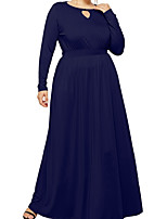 cheap -A-Line Elegant Plus Size Wedding Guest Prom Dress Jewel Neck Long Sleeve Floor Length Chiffon with Pleats 2020
