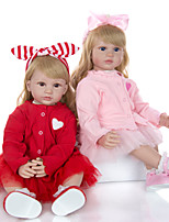 cheap -KEIUMI 24 inch Reborn Doll Baby & Toddler Toy Reborn Toddler Doll Baby Girl Gift Cute Lovely Parent-Child Interaction Tipped and Sealed Nails Half Silicone and Cloth Body 2pcs with Clothes and